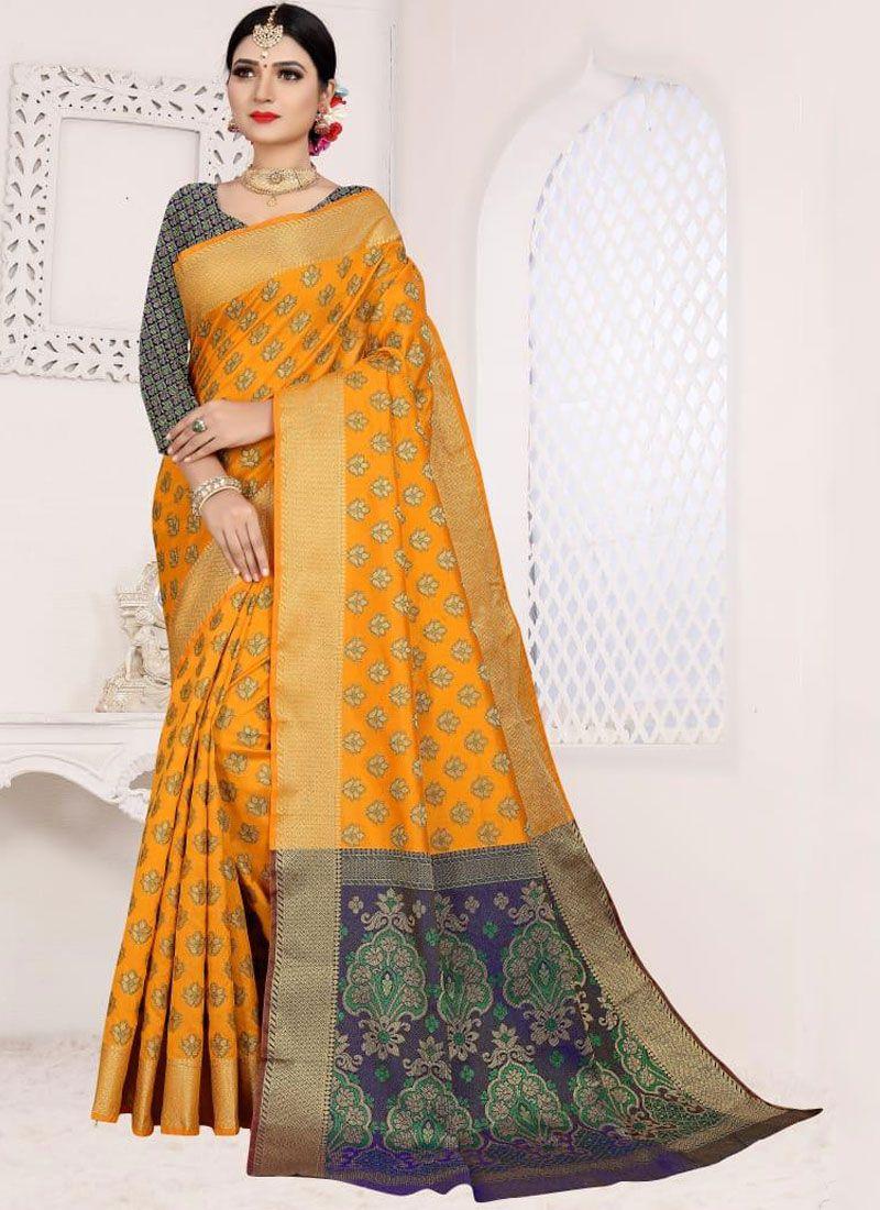 Casual Saree Weaving Art Silk Cotton in Orange