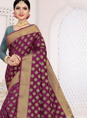Casual Saree Weaving Art Silk Cotton in Purple