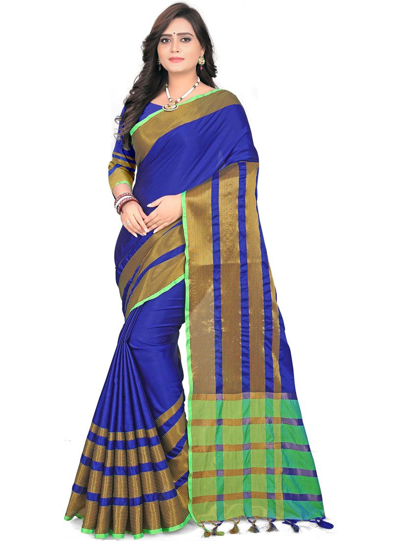 Casual Saree Weaving Cotton in Blue