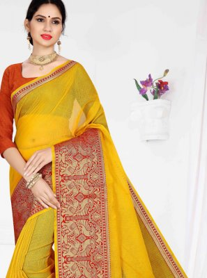 Casual Saree Weaving Cotton in Yellow