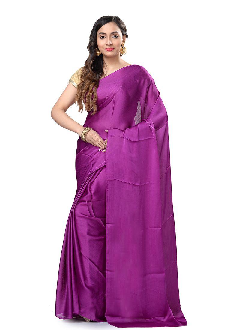 Casual Saree Weaving Pure Chiffon in Purple