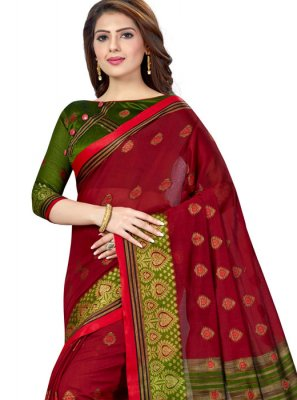 Casual Saree Weaving Silk in Green and Maroon