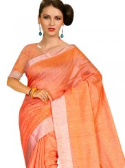 Casual Saree Weaving Tussar Silk in Orange