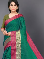 Casual Saree Woven Silk in Green