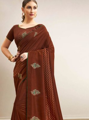 Chanderi Abstract Print Traditional Saree