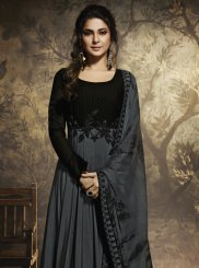 Chanderi Anarkali Salwar Suit in Grey