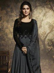 Chanderi Anarkali Salwar Suit in Grey