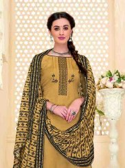 Chanderi Beige and Orange Printed Designer Patiala Suit