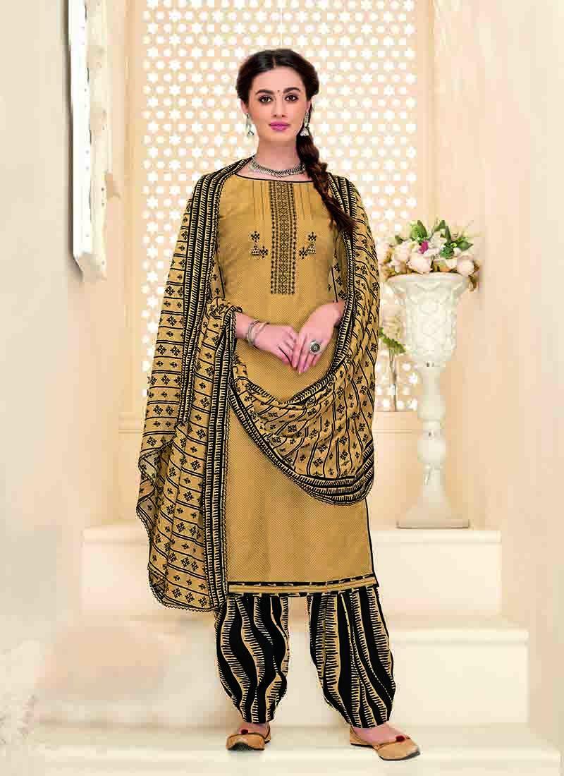 Chanderi Beige and Orange Printed Designer Patiala Suit