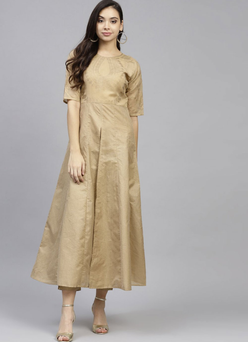 Chanderi Beige Party Wear Kurti