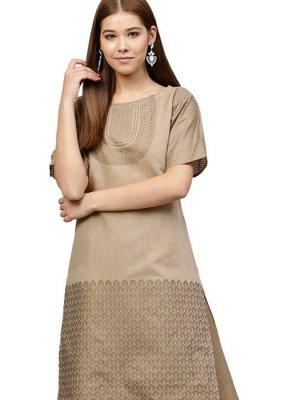 Chanderi Beige Print Readymade Designer Suit