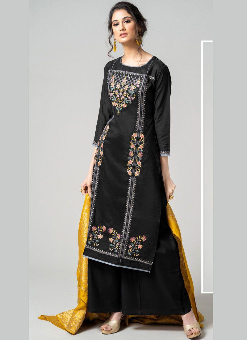 Chanderi Black Designer Palazzo Suit
