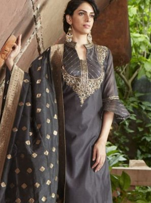 Chanderi Black Readymade Suit
