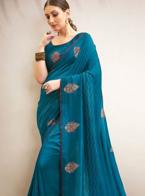Chanderi Blue Print Traditional Saree