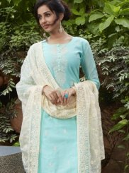 Chanderi Blue Readymade Suit