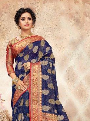 Chanderi Blue Weaving Traditional Designer Saree