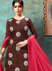 Chanderi Brown Embroidered Churidar Suit