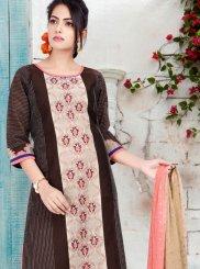Chanderi Brown Print Readymade Suit