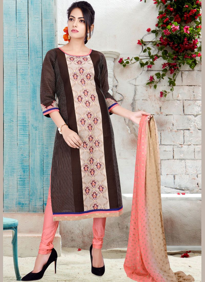 Chanderi Brown Print Readymade Suit