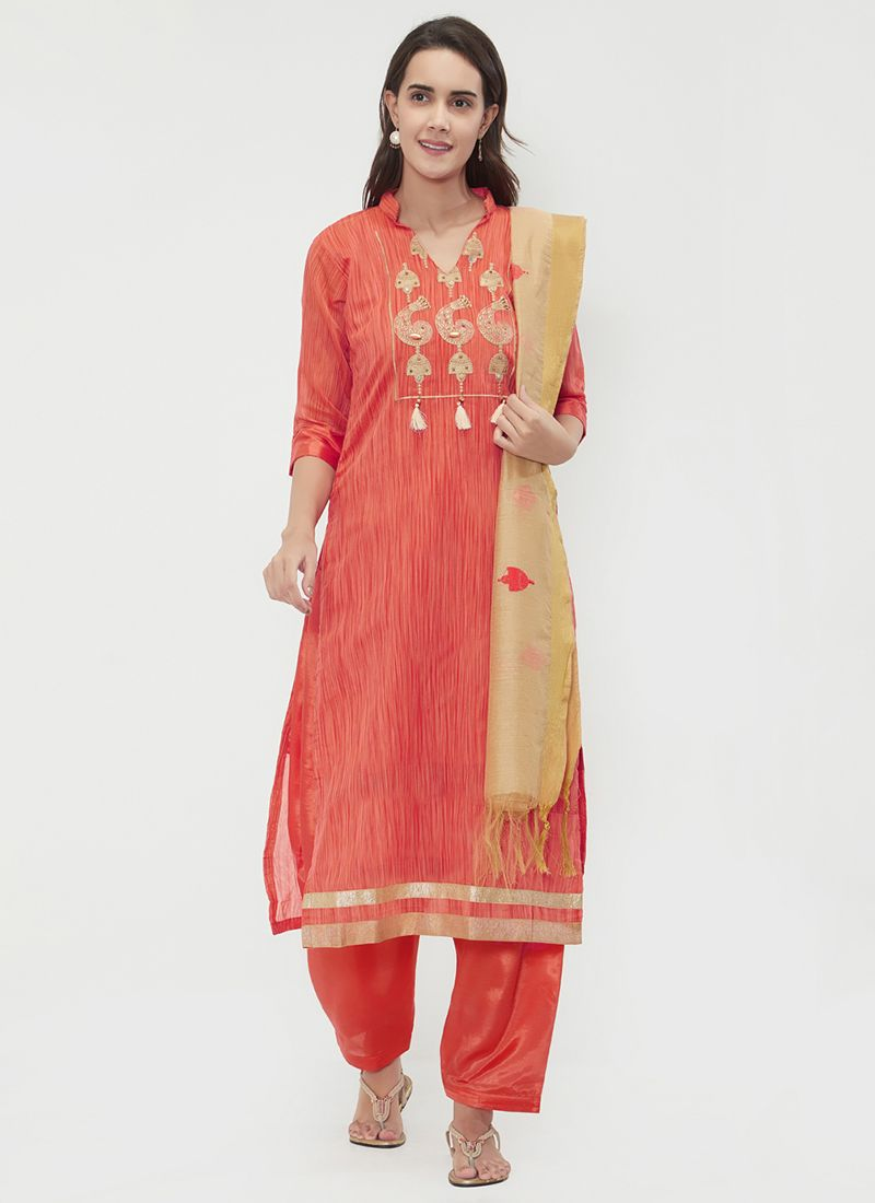 Chanderi Ceremonial Designer Suit