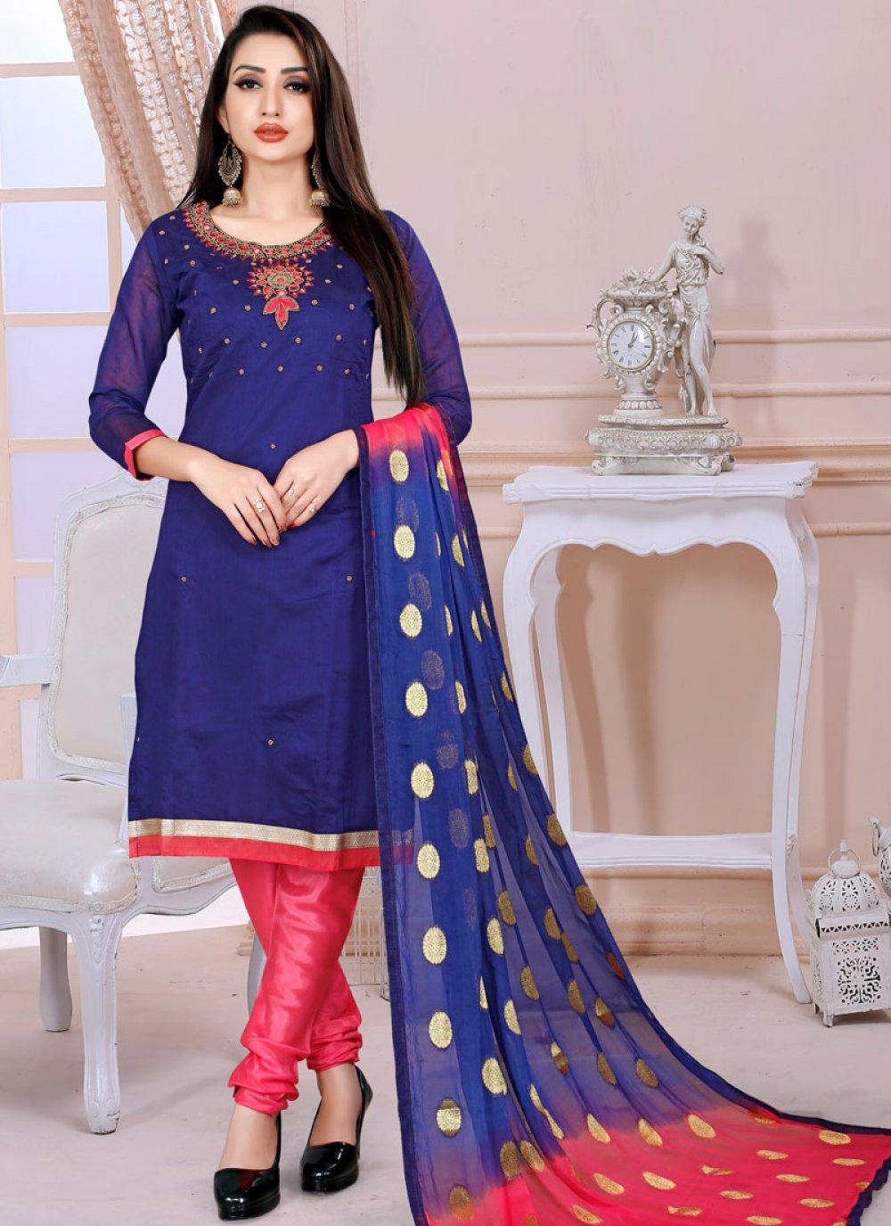 Chanderi Churidar Designer Suit