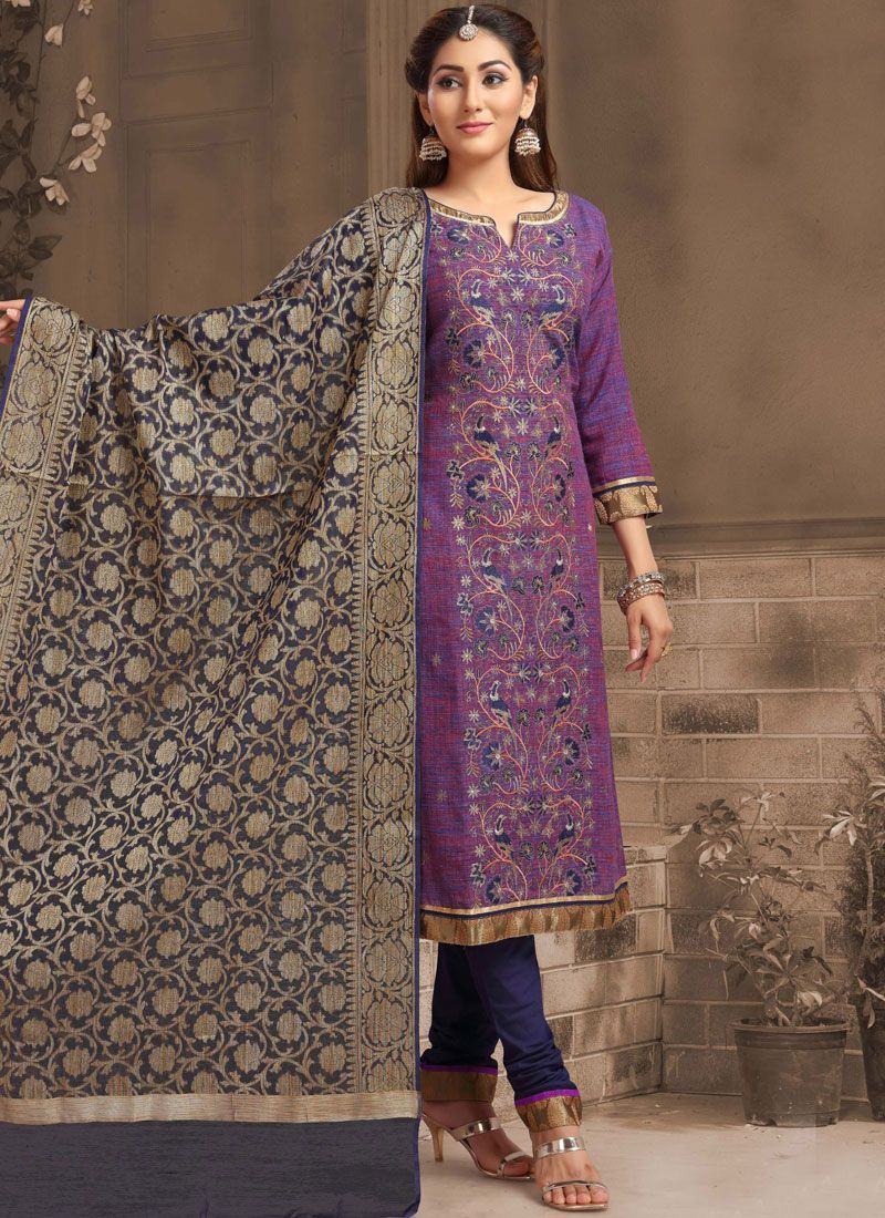 Chanderi Churidar Designer Suit in Purple