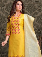 Chanderi Churidar Salwar Kameez in Yellow