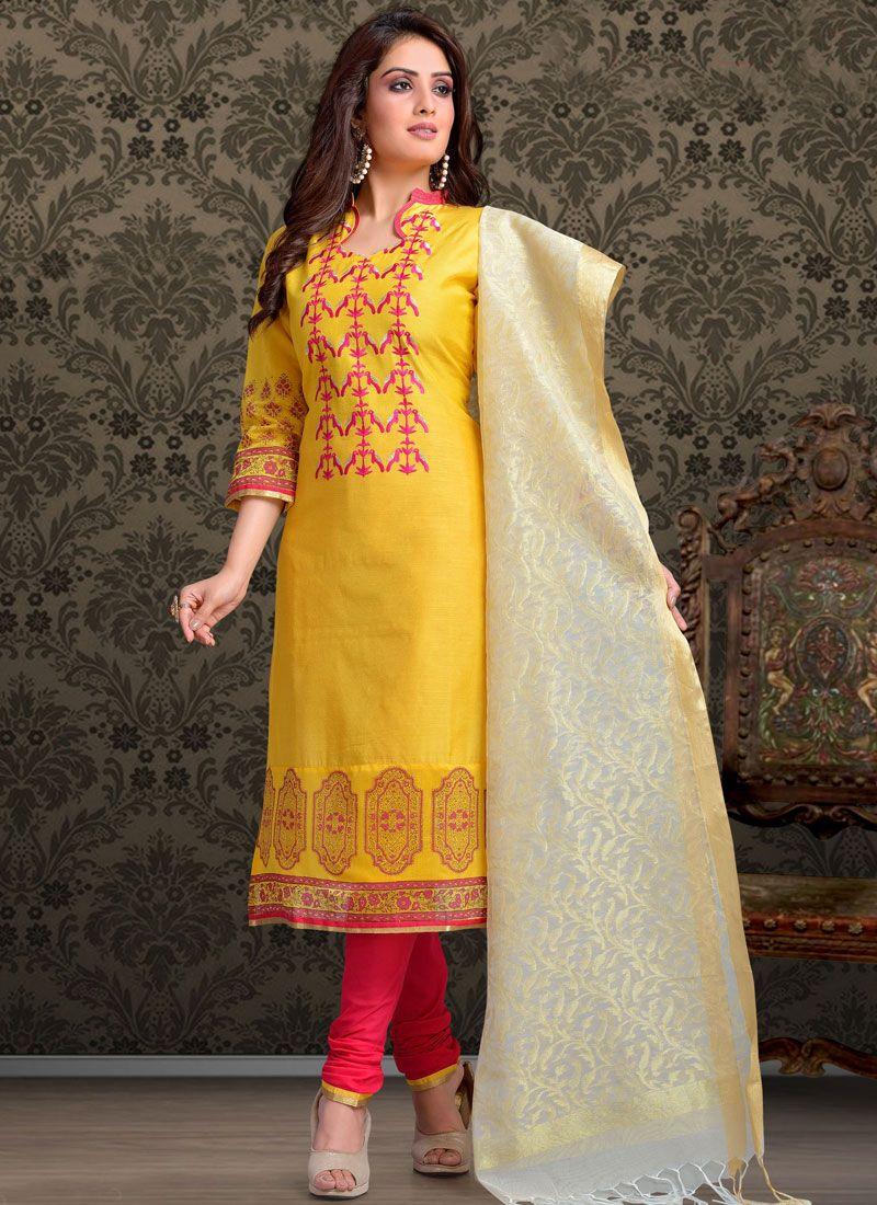 Chanderi Churidar Salwar Kameez in Yellow