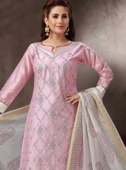 Chanderi Churidar Suit in Pink