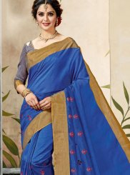 Chanderi Cotton Blue Print Classic Designer Saree