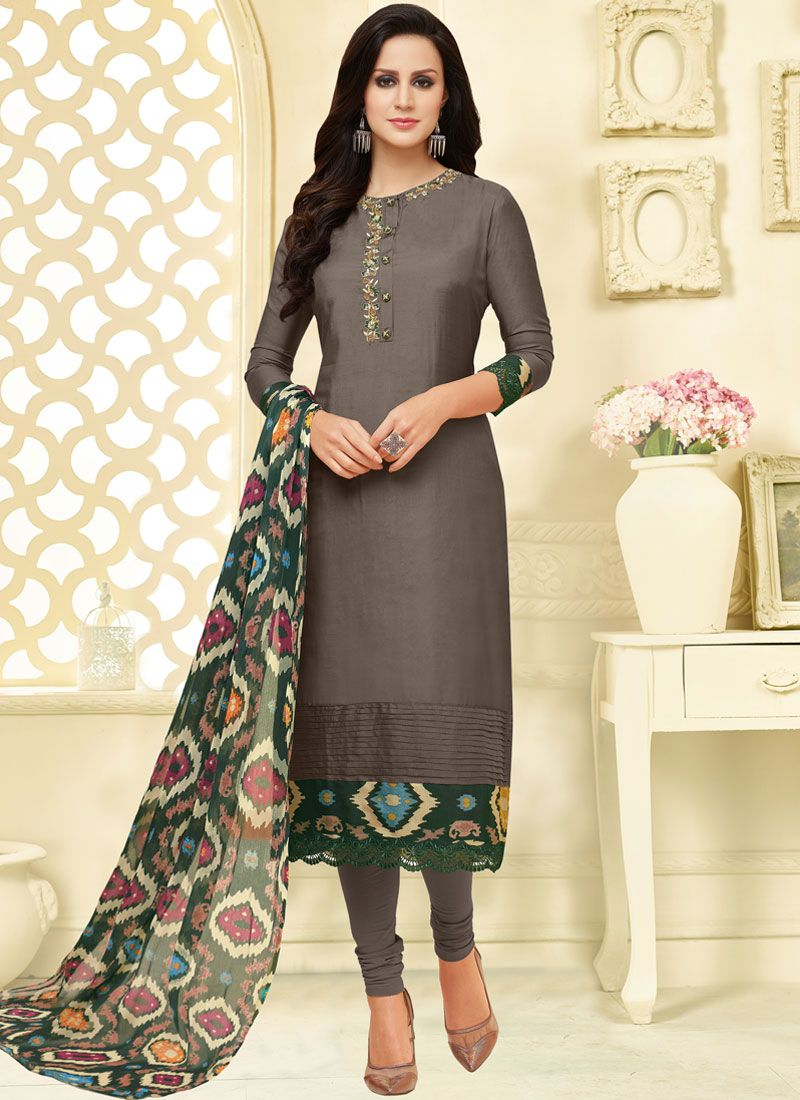 Chanderi Cotton Casual Churidar Suit