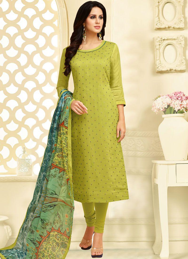 Chanderi Cotton Churidar Suit in Green