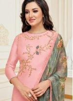 Chanderi Cotton Embroidered Pink Churidar Suit