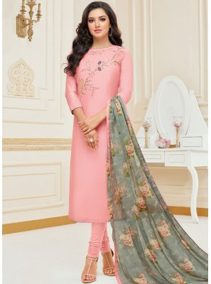 Chanderi Cotton Embroidered Pink Churidar Suit