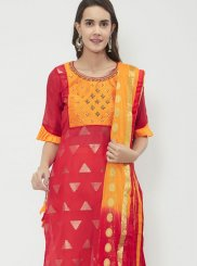 Chanderi Cotton Fancy Red Designer Suit
