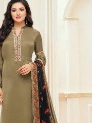 Chanderi Cotton Green Embroidered Churidar Suit