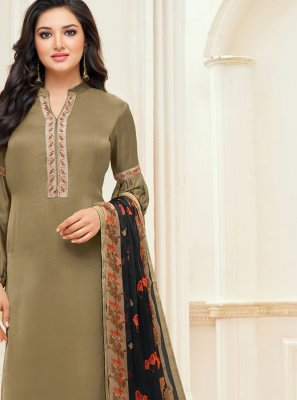 Chanderi Cotton Brown Embroidered Churidar Suit