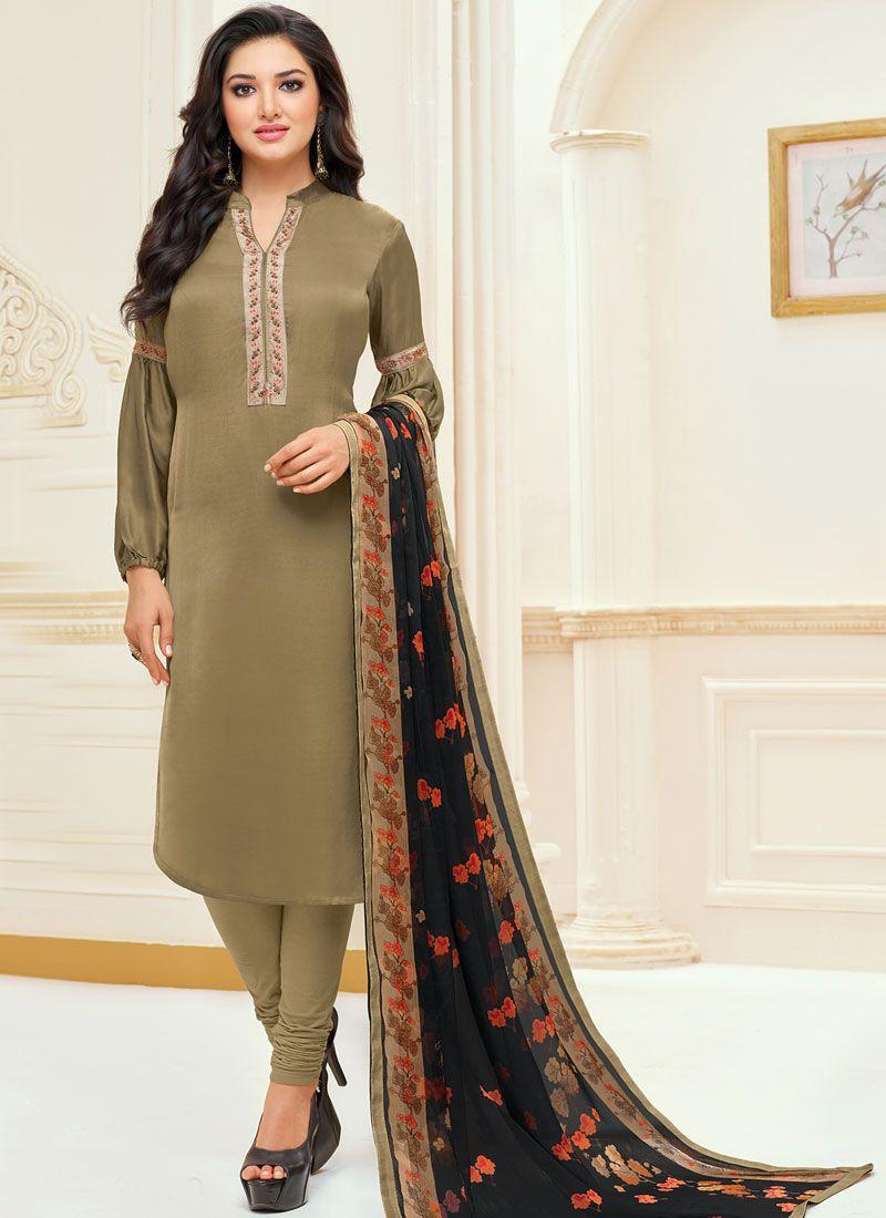 Chanderi Cotton Brown Embroidered Churidar Suit