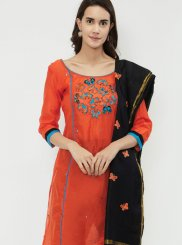 Chanderi Cotton Orange Fancy Designer Suit