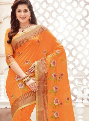 Chanderi Cotton Orange Print Work Classic Saree