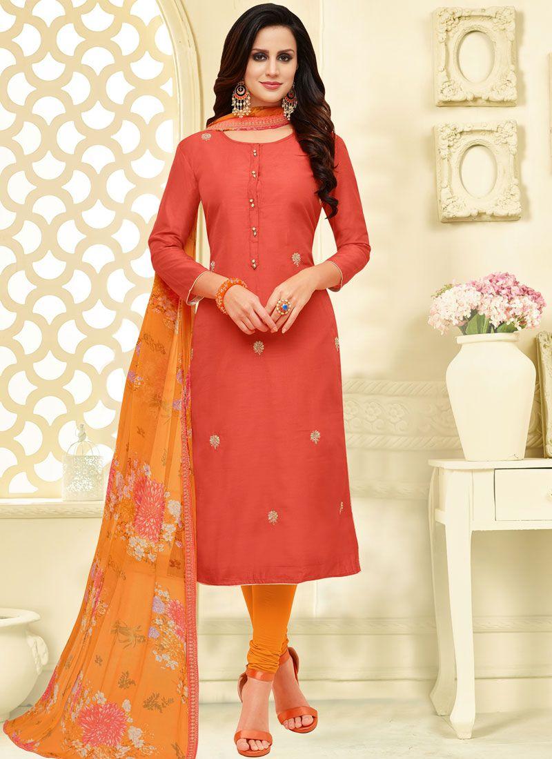 Chanderi Cotton Print Pink Churidar Suit
