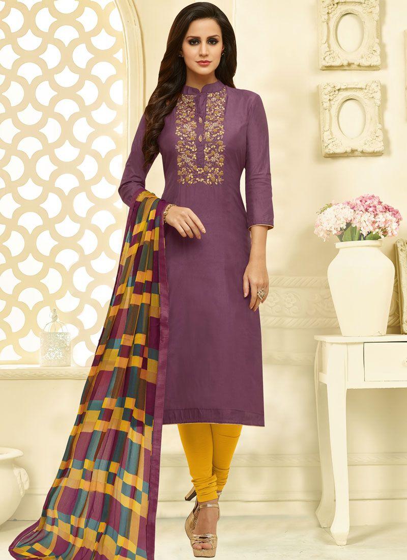 Chanderi Cotton Purple Churidar Suit