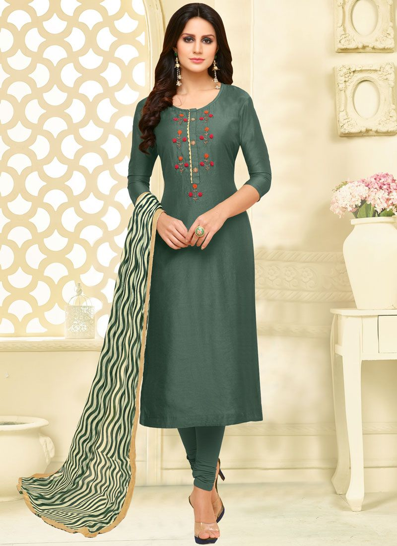 Chanderi Cotton Teal Print Churidar Suit
