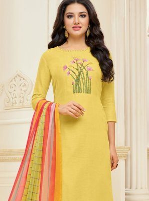 Chanderi Cotton Yellow Churidar Suit