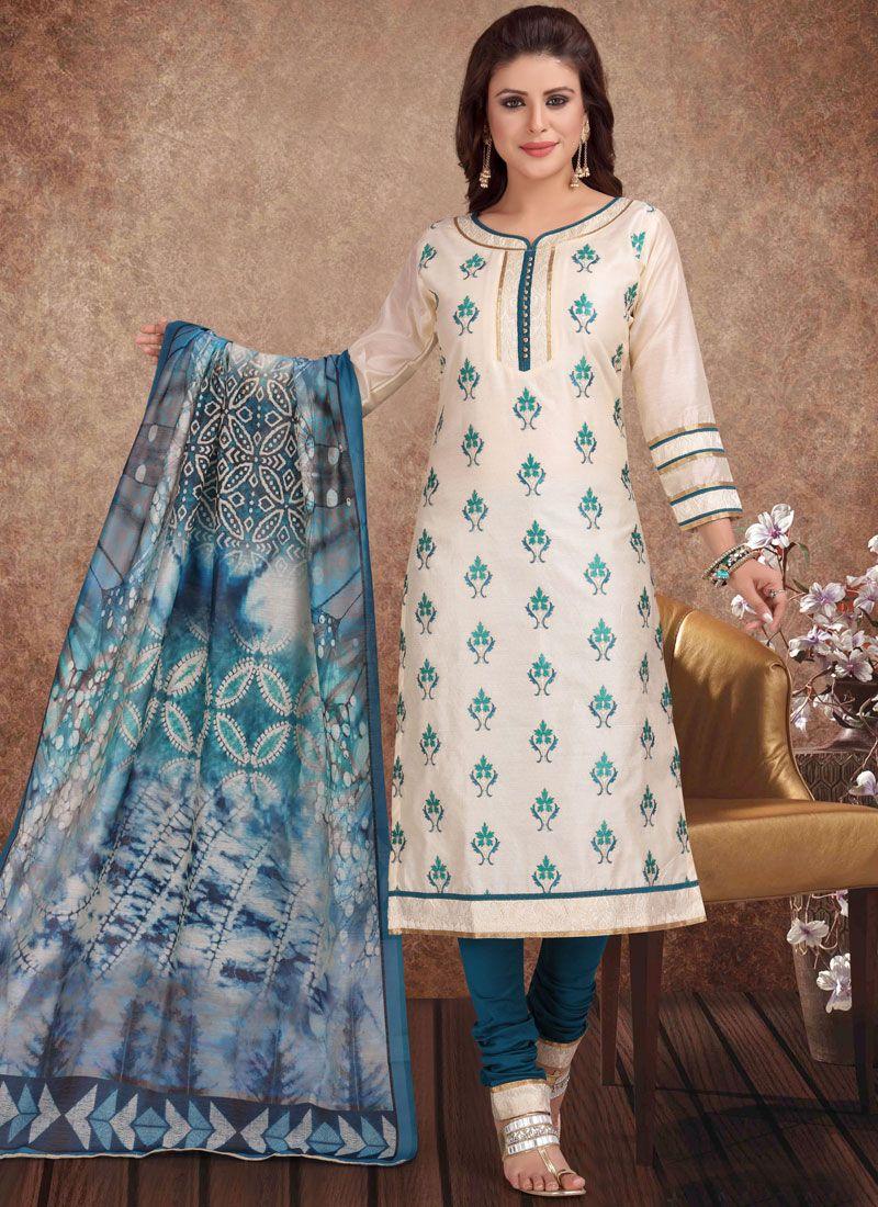 Chanderi Cream Churidar Salwar Suit