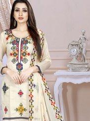 Chanderi Cream Embroidered Churidar Designer Suit