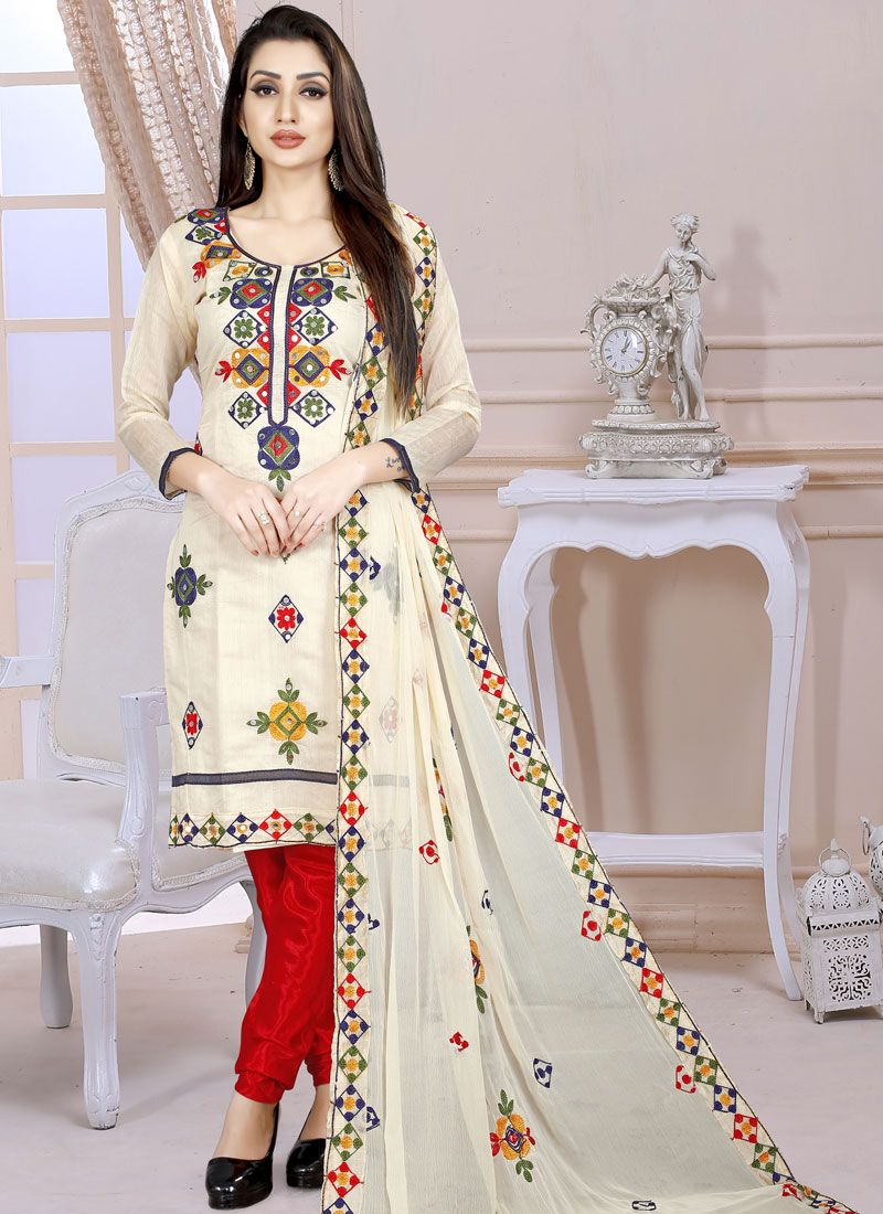 Chanderi Cream Embroidered Churidar Designer Suit