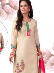 Chanderi Cream Embroidered Readymade Suit