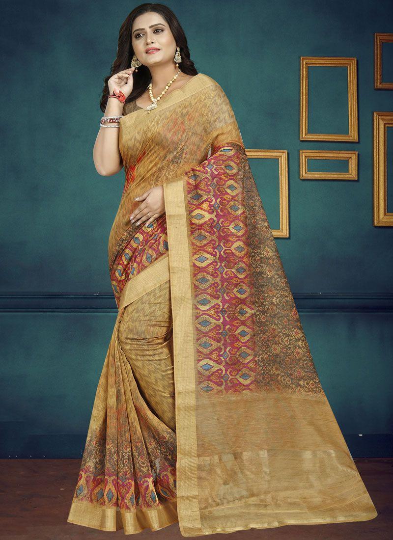 Chanderi Digital Print Multi Colour Traditional Saree