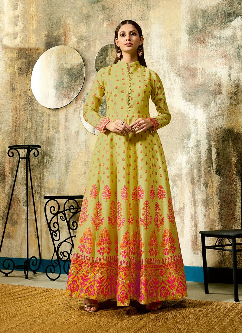 Chanderi Digital Print Sea Green Trendy Gown